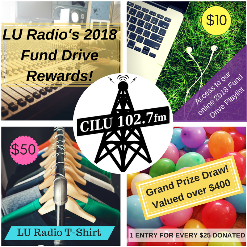 2018 Fund Drive rewards - $10 gets access to playlist, $50 gets a t-shirt, and every $25 gets an entry to the draw